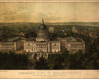 Poster, Many Sizes Available; Panoramic View Map Of Washington City  D.C. From The New Dome Of The Capitol, Looking East 1857