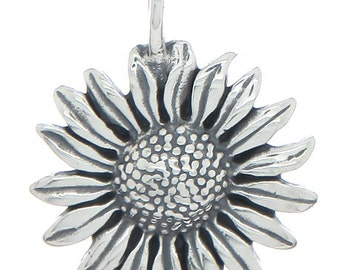 Sterling Silver Sunflower Charm (3d Charm)