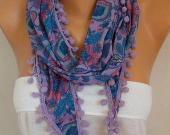 Mother's Day Gift, Pale Lilac Floral Tricot Scarf,Pompom Scarf,Bohemian Spring Summer Scarf Cowl Gifts For Her Women's Fashion Accesories