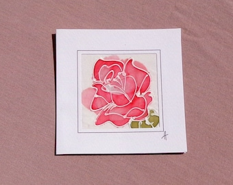 Romantic Red Rose Card/Rose Birthday Card/Unique silk painting card/Rose Gift Card/Rose Wedding Card/Flower Greeting Card/Rose Mother's Day