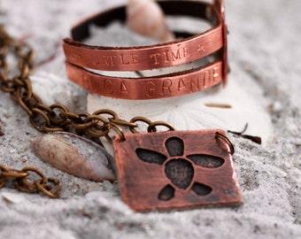 Sea Turtle Copper Jewelry Set - Beach Jewelry For Her - Beach Wedding - Sea Gift Women - Beach Bridesmaid Jewelry - Beach Gift Ideas for Her
