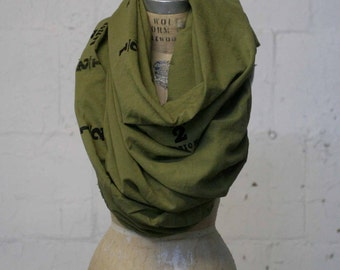 Green Scarf , Screen Printed, Fashion Accessories, Large Scarves, Spring Scarves