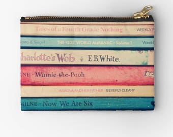 artist designed carry all pouch- for book lovers- childhood books-vintage books-blue-pink-beige-cosmetic bag-make up case-pencil case