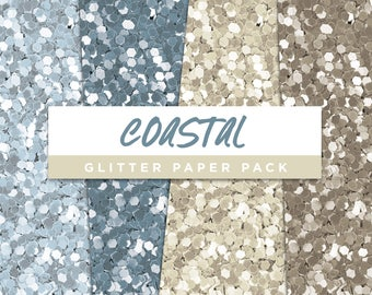 Coastal Collection Glitter Seamless Paper Pack // Seamless Pattern Digital Papers Planner Stickers Clipart Digital Scrapbooking
