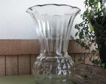 Clear Glass Vase Pineapple Styled Flared Anchor Hocking Waffle Optic Vintage Florist Ware Flowers Centerpieces Bouquets