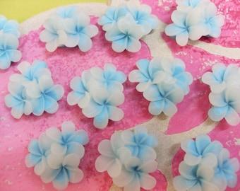 7 x 25mm Opaque et bleu fleuriront fleur résine Cabochons Vintage Style