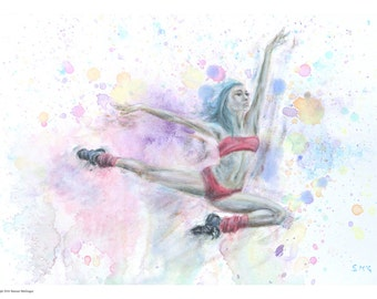 woman dancer ballerina ballet water colour painting woman art figure painting woman dancer jumping dancer in - Dancing Pictures To Colour