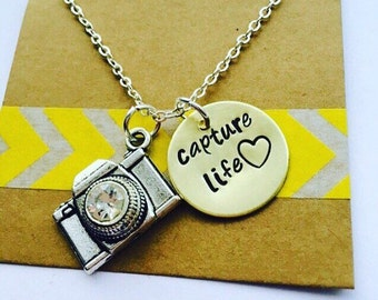 Camera Necklace, Camera Necklace - Photographer Gift-Brass- Capture Life -Hand stamped Jewelry - Photography