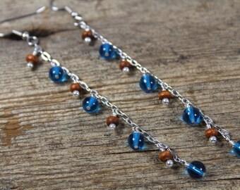 Super Long Dangle Chain Earrings / Blue Brown Wood Silver / Long Earrings / Blue Earrings / Gifts for Her / Gifts for Women / Funky Earrings