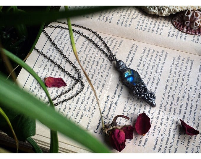 Labradorite Crystal Immortality Potion Vial necklace - Gemstone Potion Bottle amulet with roses - sculpted ooak pendulum dragons eye
