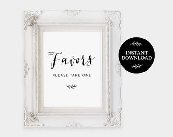 Favors Please Take One Sign INSTANT DOWNLOAD, DIY Rustic Wedding, Printable Favor Sign, Wedding Favors, Sign - Lilly