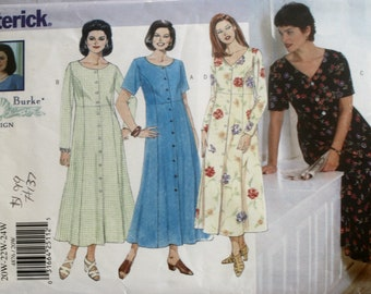 Misses Dress Sewing Pattern - Long Dress Sewing Pattern - Plus Size Dress Sewing Pattern - Butterick 4876 - New-Uncut - Size 20W - 22W - 24W