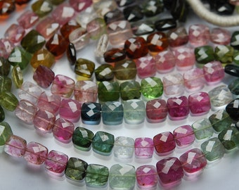 93 Carats,13 Inch strand Super-FINEST,Multi Tourmaline Faceted Cushion Shaped Beads,7-8mm