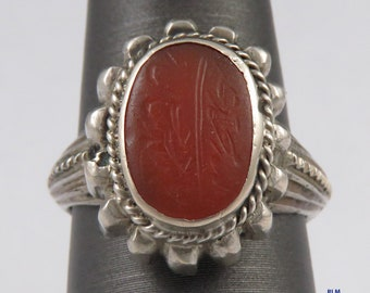Early 1900's Turkish Sterling Silver Carnelian/Agate Ring s 6.5