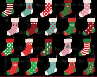 Christmas Stocking Clipart, Christmas Stockings Clipart, Christmas Socks Clip Art, Digital Christmas Stockings,Patterned Christmas Stockings
