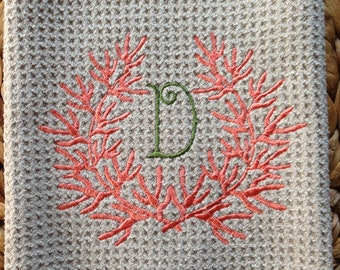 Coral Wreath with Initial - Microfiber Waffle Weave Kitchen Hand Towel