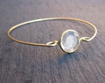 Crystal and Gold Bangle Bracelet, White Crystal Bangle, 14k Gold Bangle Bracelet, Stacking Bangles, Wedding Jewelry, diamond bracelet
