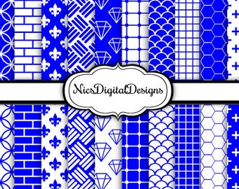 20 Digital Papers. Single Colour in Blue and White (5B no 4) for Personal Use and Small Commercial Use Scrapbooking