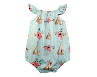 Floral Teepee Romper - Girls Romper - Baby Romper - Toddler Romper - Birthday Outfit - Blue Romper - Sunsuit - Baby Clothes - Tribal Romper