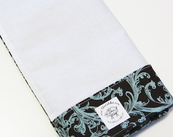 The Lap Thing - A Spinners Tool - Brown with Aqua Damask Scroll