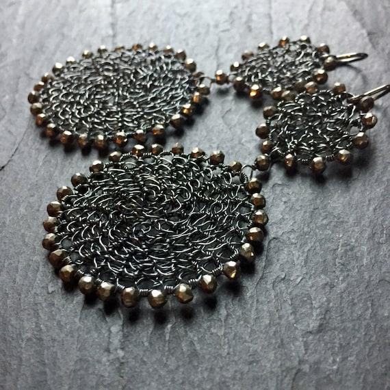 Double Disk Earrings in gunmetal