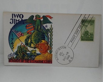 Spring Sale Vintage WW2 USMC Iwo Jima  First Day Cover