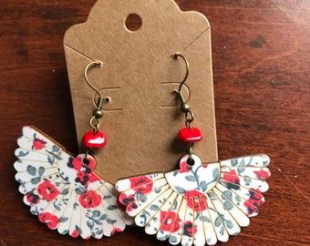 Handmade Wooden Asian Flower Fan Earrings