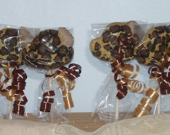 Leopard Print  Ladies Chocolate Hat Lollipops