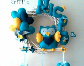 Birth Bow Garland with owl and Hearts Handmade KriTiLo