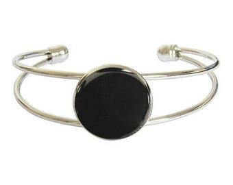 Silver plated cabochon bracelet - hematite
