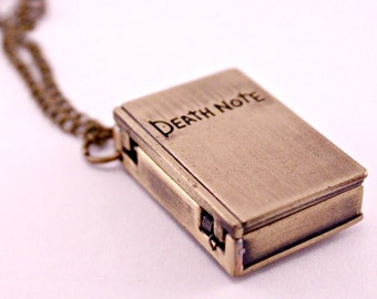 Gold Mini Book Death Note Pocket Watch Necklace with 28 Inch Chain