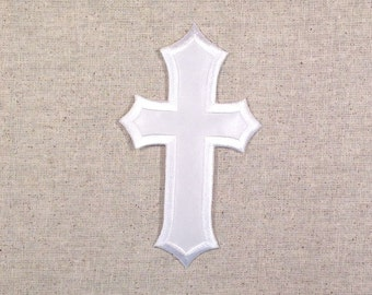 """White Cross 2-1/2""""  - Ornate Points - Iron on Applique - Embroidered Patch - AP-511379"""