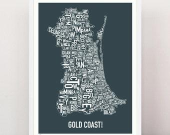 Queensland - GOLD COAST Type Print