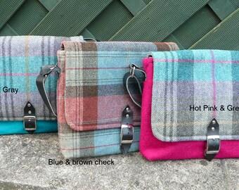 Messenger Bag, Sling Bag, Crossbody Bag, Plaid Tweed messenger bag with real leather adjustable strap
