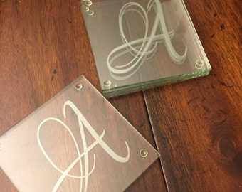Personalized Wedding Coasters, Glass Coasters, Housewarming Gift, Wedding Gift, Anniversary