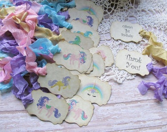 Unicorn Party Favor Tags with ribbons - Set of 18 - Customized Thank You - Unicorn Birthday Party Favor