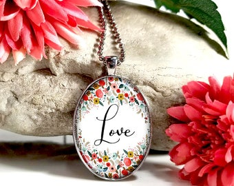 Script Love-Large Oval- Glass Bubble Pendant Necklace