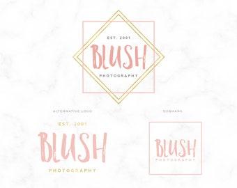 Premade Logo Design - Modern Gold & Blush Calligraphy Logo - Wedding Photographer - Photography Logo - Boutique Logo - Branding - Watermark