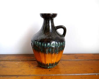 Vintage German Pottery Vase Ceramics Fat Lava Vase green Brown Orange glaze Mid Centruy modern pottery handle vase rustic bohemian decor
