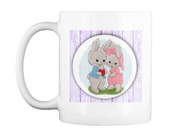 Sweet Easter Bunny Couple Mug