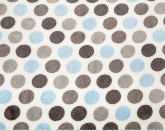 Personalized Minky Baby Blanket - Polka Dot in Baby Blue, Gray and White - Baby Girl or Boy - You Choose Solid Minky Color - Double Minky
