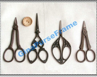 5pieces- Antique-style Cutting scissors for fabric purse bag making (5type available)