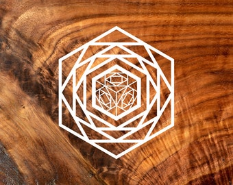 Cube Hexagon Vinyl Decal - Sacred Geometry Sticker Decal Vinyl Cutout by LaserTrees - Item Number LT50015