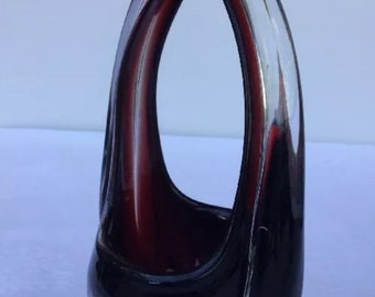 Vintage Murano Art Glass Purse Vase Art Deco Deep Ruby Red Cut To Clear 10""