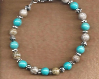 Turquoise & Fossil Agate Bracelet