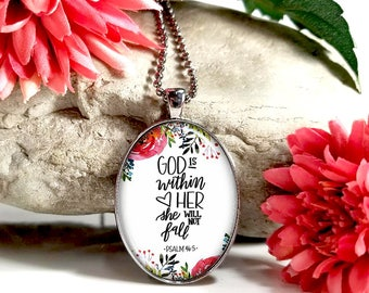 God Is Within Her She Will Not Fail-Large Oval- Glass Bubble Pendant Necklace