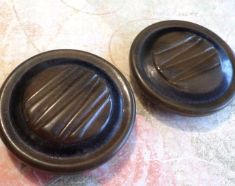 2 Big Dark Brown Vintage Buttons 1 1/2 Inch Coat Buttons