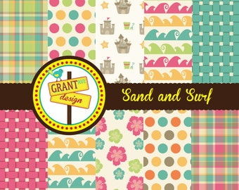 Sand & Surf Digital Papers - Backgrounds for Invitations, Card Design, Scrapbooking, and Web Design