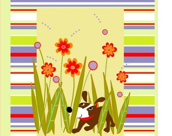 card collection small dog hiding in flowers greetings