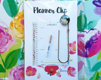 Dream, unique inspirational Planner Clip w/ Glass Pendant printed from whimsical painting of woman sleeping. Bookmark, Journal Clip